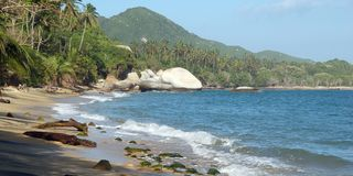Tropical beach, Colombia Caribbean coast Royalty Free Stock Images