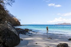 Tropical beach in Costa Rica stock photography