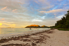 Tropical beach Cote d'Or at sunset - Seychelles Stock Images