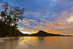 Tropical beach Cote d'Or at sunset - Seychelles Royalty Free Stock Images
