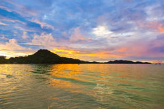 Tropical beach Cote d'Or at sunset - Seychelles Stock Photo