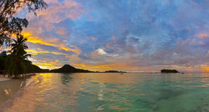 Tropical beach Cote d'Or at sunset - Seychelles Royalty Free Stock Photo