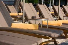 Tropical beach. Deck chairs on the beach in Thailand Stock Photo