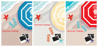 Tropical beach designs with copyspace. Three tropical beach designs with copyspace and an overhead view of a colourful beach umbrella, slip-slops, starfish and Stock Photos