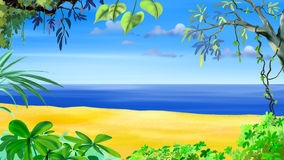 Tropical Beach. Digital painting of the Tropical Beach. Idyllic sea view Royalty Free Stock Image