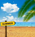Tropical beach and direction board saying SUMMER royalty free stock images