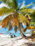 Tropical beach in Dominican republic. Caribbean sea. island Saon Royalty Free Stock Photography