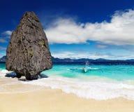 Tropical beach, El Nido, Philippines. Tropical beach with bizarre rocks, El Nido, Philippines stock images
