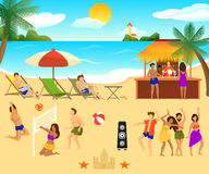 Tropical Beach Elements Set. With people sitting in chaise longue dancing playing volleyball and drinking cocktails vector illustration Stock Images