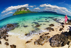 Tropical beach, fisheye shot Stock Image