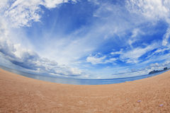 Tropical beach fisheye view. Fisheye view on the tropical beach stock images