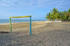 Tropical beach with football goal Royalty Free Stock Image