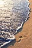 Tropical beach with footprints Royalty Free Stock Image