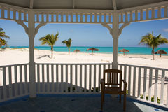 Tropical beach from gazebo Stock Images