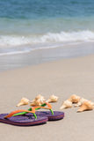 Tropical beach getaway. Flip flops and conch shells on smooth sand and soft wave background Royalty Free Stock Photos