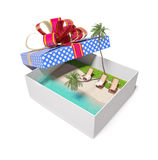 Tropical beach in the gift box Royalty Free Stock Photo