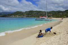 Tropical beach in Grenada, Caribbean Royalty Free Stock Photography