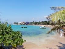 Tropical beach in Hikkaduwa. Sri Lanka. Tropical beach with palms in Hikkaduwa. Sri Lanka Stock Images