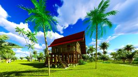 Tropical beach house in the tropics 3d rendering Stock Photography
