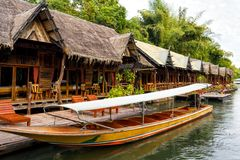 Tropical beach houses on the River Kwai Royalty Free Stock Photo