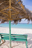 Tropical beach hut. View from under a beach hut in the tropics Stock Photo