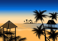 Tropical beach with hut Stock Images