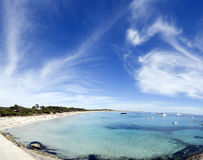 Tropical beach in ibiza. Panoramic view of a tropical beach in spain Stock Images