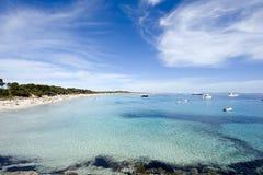 Tropical beach in ibiza. Panoramic view of a tropical beach in spain Stock Photo