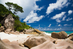 Tropical beach of the Indian ocean, LaDigue island, Seychelles Royalty Free Stock Images