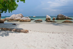 Tropical beach in Indonesia, Bintan. Royalty Free Stock Images