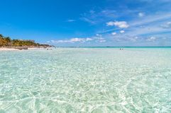 Tropical beach in Isla Mujeres, Mexico stock images