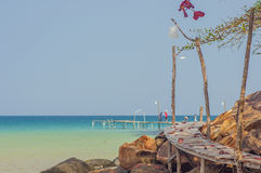 Tropical beach in island Koh Kood , Thailand. Beach, thailand, island, view, outdoor, nobody, quay pier, sunny, pavilion, paradise, asia, caribbean, colorful Stock Photos