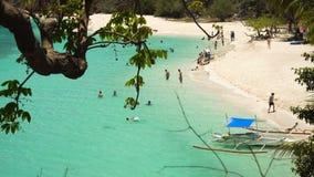 Beautiful beach on a tropical island Malcapuya. Philippines. Tropical beach on the island Malcapuya, Palawan, Philippines. Beautiful tropical island with sand stock video footage