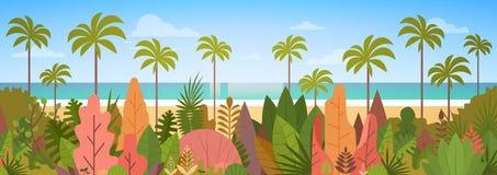 Tropical Beach Island Palm Tree Ocean Summer Vacation Concept Stock Photo