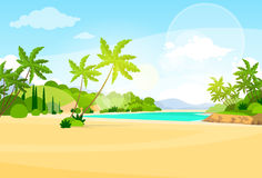 Tropical Beach Island Palm Tree Ocean Summer. Vacation Flat Vector Illustration royalty free illustration