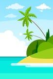 Tropical Beach Island Palm Tree Ocean Summer Stock Image