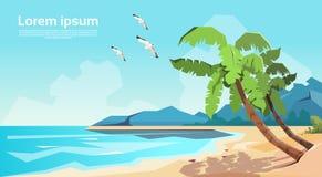 Tropical Beach Island Palm Tree Ocean Summer Vacation Royalty Free Stock Photo
