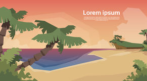 Tropical Beach Island Palm Tree Sunset Ocean Summer Vacation Stock Image
