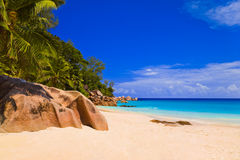 Tropical beach at island Praslin, Seychelles Royalty Free Stock Photo