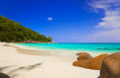 Tropical beach at island Praslin, Seychelles Stock Photo