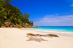 Tropical beach at island Praslin, Seychelles. Vacation background Stock Photo