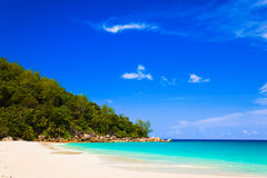 Tropical beach at island Praslin, Seychelles. Vacation background Stock Image