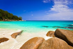 Tropical beach at island Praslin, Seychelles Royalty Free Stock Images