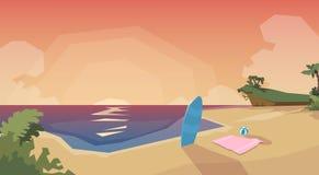Tropical Beach Island Sunset Ocean Summer Vacation Stock Photos