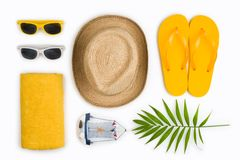 Tropical beach items and travel symbols isolated on white background.  stock photography