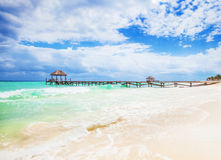 Tropical Beach with jetty. Mexico. Riviera Maya. Vacations and tourism concept: Caribbean Paradise stock image