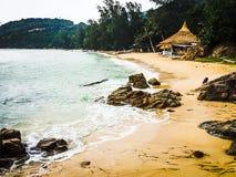 Tropical beach. Jungle bungalow on a tropical beach Royalty Free Stock Photos