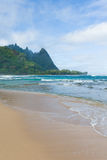Tropical beach kauai. Beautiful tropical tunnels beach on the north shore of kauai hawaii Royalty Free Stock Image