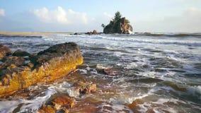 Tropical beach at Kemasik Beach. Terengganu, Malaysia stock video