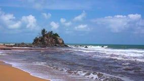Tropical beach at Kemasik Beach stock video footage
